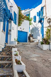 Sidi Bou Said - typical building with white walls, blue doors an Stock Images