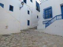 Sidi Bou Said, vila do famouse com arquitetura tunisina tradicional imagens de stock