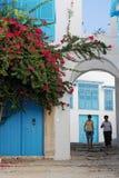 Sidi Bou Said Village, dichtbij Carthago, Tunesië Royalty-vrije Stock Afbeelding