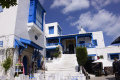 Sidi Bou Said - White and Blue Café Terrace, Arabian Architecture Royalty Free Stock Photo