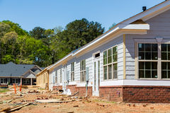 Siding and Windows on New Row House Construction Stock Image