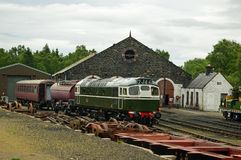 Sidings and engine shed at Strathspey Railway Scotland. The Strathspey Railway SR in Badenoch and Strathspey, Highland, Scotland, operates a 10 miles 16 km stock images