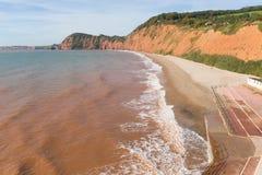 Sidmouth海岸和海滩德文郡在这个普遍的旅游镇的西边英国英国 免版税库存图片