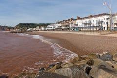 Sidmouth海滩和沿海岸区德文郡英国英国有沿侏罗纪海岸的一个看法 免版税库存图片