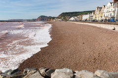 Sidmouth海滩德文郡英国英国有沿侏罗纪海岸的一个看法 库存照片