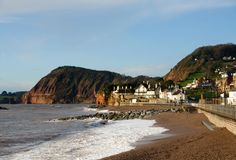 sidmouth Англии пляжа стоковые фото