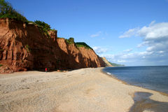 Sidmouth Beach. Beach and triassic era mudstone cliffs at Sidmouth, Devon, England Royalty Free Stock Image