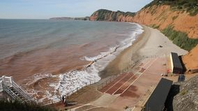 Sidmouth beach and coast Devon England UK to the west stock footage