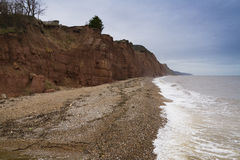 Sidmouth beach. The sandstone cliffs and beach at Sidmouth, Devon, England, United Kingdom Stock Photography