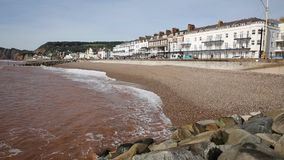 Sidmouth beach and seafront Devon England UK stock video