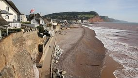 Sidmouth beach and seafront Devon England UK to the east stock video