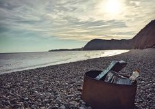 Sidmouth beach at sunset Royalty Free Stock Photography
