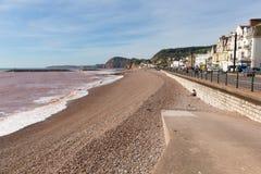 Sidmouth Devon England UK med en sikt längs den Jurassic kusten Royaltyfri Fotografi