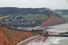 Sidmouth in the valley of the River Sid on the Jurassic coast in Devon stock photo