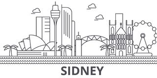 Sidney architecture line skyline illustration. Linear vector cityscape with famous landmarks, city sights, design icons. Editable strokes stock illustration