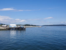 Sidney harbor and fish market on the jetty. Blue skies beautiful day looking at the blue building of the fish market on the jetty in Sidney Royalty Free Stock Image