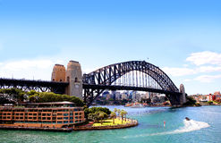 Sidney harbour Bridge and apartments Royalty Free Stock Images