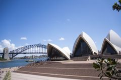 Sidney opera house. View at Sidney opera house in Sydney, Australia. It was Designed by Danish architect Joørn Utzon and was opened at October 20, 1973 Stock Photo