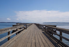 Sidney Pier on a beautiful summer day. Sunny Day at the Sidney Pier Wooden Boardwalk Royalty Free Stock Photos