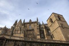 Sidofasad av Catedral de Santa Maria av Plasencia, Spanien Fotografering för Bildbyråer