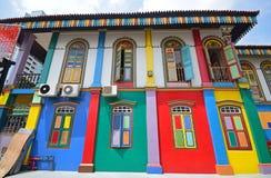 Sidofasad av den populära Tan Teng Niah Residence med livlig färg Royaltyfri Bild