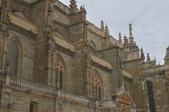 Sidofasad av domkyrkan i Astorga Arkitektur historia, Camino De Santiago, lopp, gatafotografi November 1, 2018 arkivbild