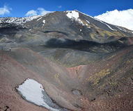 Sidokrater av den sydliga flanket av Mount Etna arkivfoto