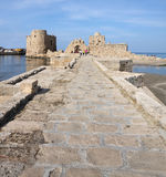 Sidon Crusader Sea Castle, Lebanon. Crossing over the bridge to the entrance gate of the Crusader Sea castle in Sidon, Lebanon Royalty Free Stock Photography