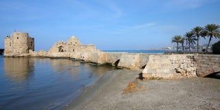 sidon för slottlebanon hav arkivfoton