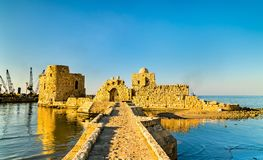 Sidon havsslott i Libanon arkivfoton