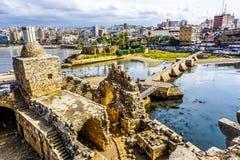 Sidon krzyżowów morza kasztel 13 zdjęcie stock
