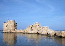 Sidon Sea Castle, Lebanon. The famous crusader landmark and toursit attraction off the coast of Sidon in Southern Lebanon Stock Photo