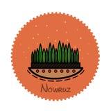 Sidor av gräs på en orange bakgrund i en cirkel Royaltyfri Fotografi