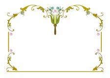 Sidor för blommor för blått för blommor för ramclipart rosa arkivbilder