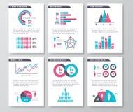 Sidor för broschyr för vektoraffär infographic med demographicssymboler, diagram och beståndsdelar vektor illustrationer