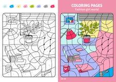 Sidor för färgläggning för modeflickavärld för ungar, arbetsplats stock illustrationer