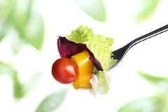 Sidor för gaffelgrönsallatsallad, den körsbärsröda tomaten och peppar iusolated Arkivfoto