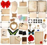 Sidor för gammal bok, pappersark, hörn och fotoramar arkivbilder