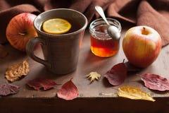 Sidor för höst för halsduk för drink för varmt citronhonungte värmehemtrevliga arkivfoto