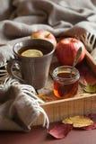 Sidor för höst för halsduk för drink för varmt citronhonungte värmehemtrevliga arkivbilder
