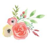 Sidor för vattenfärgpersikaCoral Bouquet Leaf Spring Summer bröllop Arkivbilder