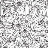 Sidor för vuxen färgläggningbok Räcka den utdragna konstnärliga etniska dekorativa mönstrade blom- ramen i klotter fotografering för bildbyråer