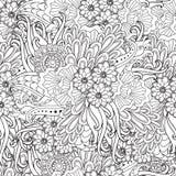 Sidor för vuxen färgläggningbok Räcka den utdragna konstnärliga etniska dekorativa mönstrade blom- ramen i klotter Royaltyfria Bilder