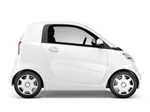 Sidosikt av 3D vit Mini Car Royaltyfria Foton