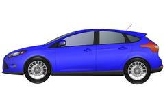 Sidosikt av den blåa bilen Royaltyfria Foton
