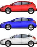 Sidosikt av den blåa bilen Fotografering för Bildbyråer