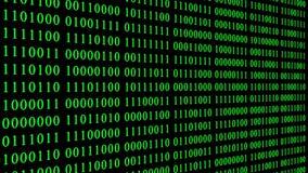 Sidosikt av den gröna binära digitala koden stock illustrationer