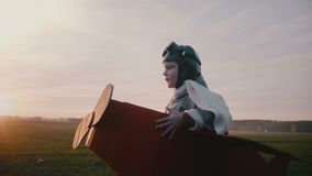 Sidosikt av den lyckliga lilla flygarepojken i den roliga pappnivådräkten som kör längs en ultrarapid för solnedgånghöstfält lager videofilmer