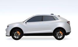 Sidosikt av den vita elektriska SUV begreppsbilen som isoleras på ljus - grå bakgrund royaltyfri illustrationer