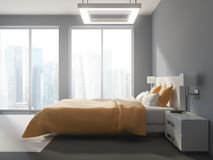 Sidosikt av en panorama- grå sovruminre stock illustrationer